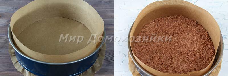 Творожный пирог с песочной крошкой - заливаем в форму