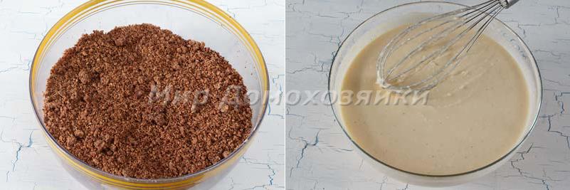 Творожный пирог с песочной крошкой - приготовление теста и начинки