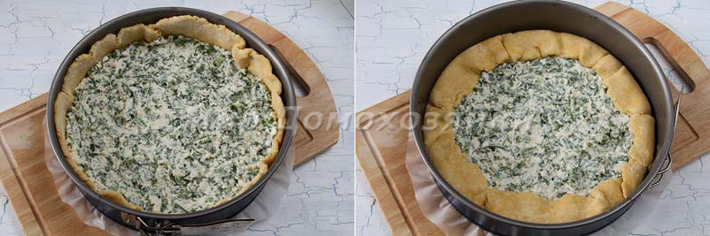 Пирог со щавелем и творогом - выпекание