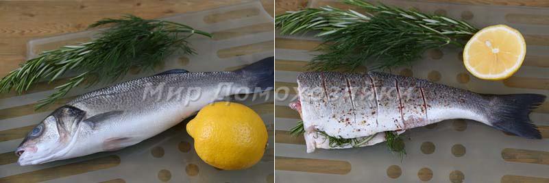 Сибас жареный на сковороде - разделка рыбы