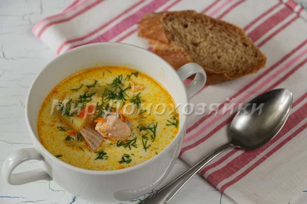 Суп изкрасной рыбы готов!